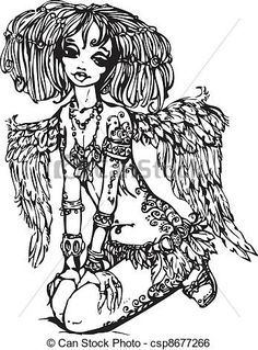 Clip Art Vector of Angel girl with tattoo on her body - illustration ...