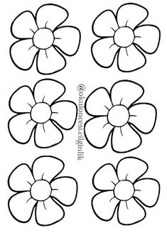 Customize these flowers anyway you can with free printable templates. Embroidery Patterns, Hand Embroidery, Royal Icing Templates, Felt Crafts, Paper Crafts, Flower Template, Colouring Pages, Fabric Painting, Flower Making