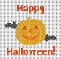Free Retro-Looking Jack O' Lantern Cross Stitch Chart by The Crimson Moon