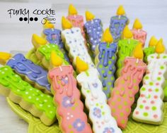 Birthday candles by Funky Cookie Studio Happy Birthday Cookie, Adult Birthday Cakes, Birthday Cookies, Birthday Ideas, Paint Cookies, Fondant Cookies, Galletas Cookies, Cupcakes, Fancy Cookies