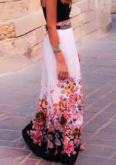 White Flowers Print Fashion High Waisted Maxi Skirt #Maxi #Skirt #Fashion