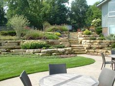 Hillside and natural stone walls above a patio and lawn area, beautifully…