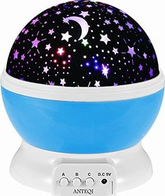 Sun And Star Lighting Lamp 4 LED Bead 360 Degree Romantic Room Rotating Cosmos Star Projector With 4.9 FT USB Cable, Light Lamp Starry Moon Sky Night Projector Kid Bedroom Lamp for Christmas (Blue)