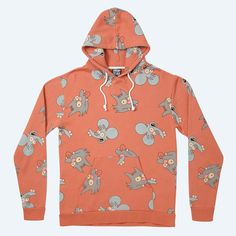 itchy & scratchy - coral orange hoody