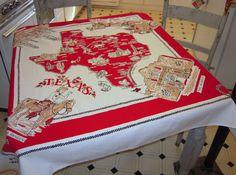 Vintage Souvenir Tablecloth Texas Cowboys & Oil by unclebunkstrunk