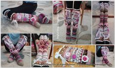 Áhhku - Somat Kukkasukat | Handmade By Minna ♥  Àhhku somat kukkasukat :)  Beautiful knitted socks, with flowers and lace. Of course, My Own Design :)   Original Design© Handmade By Minna https://www.facebook.com/Handmade-By-Minna-918765948170281/?ref=hl