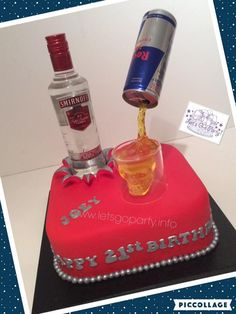 Pouring liquid from can Smirnoff and Red Bull birthday cake