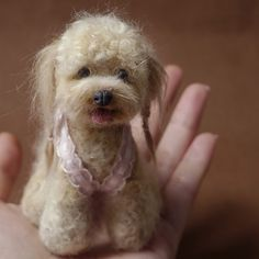 beige Poodle needle felted Dog with wool, alpaca.