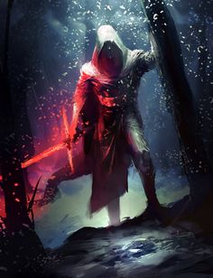 Star Wars Episode VII: The Force Awakens Concept Art with Kylo Ren and his Broadsaber Lightsaber