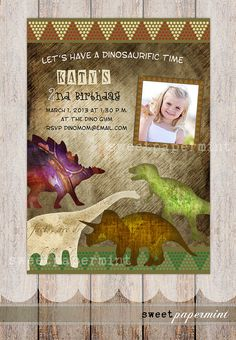 Vintage Dinosaur Shapes Boy Girl Birthday by SweetPapermint, $15.00