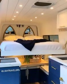 """Vanlife Inspiration on Instagram: """"Another van, another bed mechanism. Is it worth the price and effort? . 🚐 Follow @vanlifia for daily vanlife inspiration 🥰 🎥 Visit our…"""" Motorhome, Van Living, Rv, Camper Trailers, Van Life, Bunk Beds, Instagram, Effort, Inspiration"""