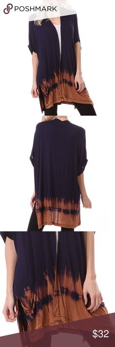 """❗️SALE❗️Open Front Loose Fit Cardigan Open Front Loose Fit kimono Cardigan featuring loose sleeves and tie dye finish Bottom. Length of cardigan is approximately 30"""". Marled. Tags say medium  but tagged here as M/L and so forth because they are loose fitting. Made of Rayon/ spandex Blend. MADE IN USA. Bchic Tops"""
