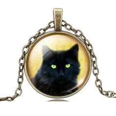 Unique Cabochon Glass Black Cat  Pendant Necklace in Silver or Antiqued Bronze - Boho Neko