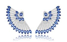 Sapphire and diamond fan earrings in 18-carat white gold, £POA, Sutra Jewels