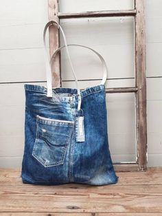 Denim Handbags, Denim Tote Bags, Denim Hair, Japanese Knot Bag, Recycle Jeans, Upcycle, Striped Bags, No Waste, Linen Bag
