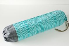 Fabric Plastic Bag Holder / Grocery Bag Holder / Aqua Turquoise Stripes & Chambray
