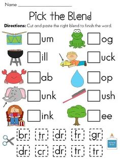 R-Blends worksheets - EIGHT fun worksheets/activities to help your kids practice R-blends! - 5 cut and paste picture sorts (BR or CR, DR or PR, FR or GR, TR or GR, THR or STR) - 1 Look at the picture/write the word with simple R-blend words Phonics Activities, Reading Activities, Teaching Reading, Guided Reading, Blends Worksheets, Fun Worksheets, Blends And Digraphs, Phonics Blends, First Grade Reading