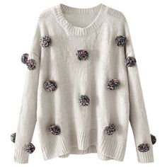 Oversized Balls Applique Sweater Gray S (403.965 IDR) ❤ liked on Polyvore featuring tops, sweaters, oversized gray sweater, oversized grey sweater, applique top, oversized sweaters and oversized tops