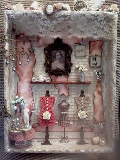 Other: Grandmas sewing room shadow box Shadow Box Kunst, Shadow Box Art, Shadow Box Frames, Vitrine Miniature, Miniature Dolls, Altered Canvas, Altered Art, Scrapbooking Vintage, Chic Shadow