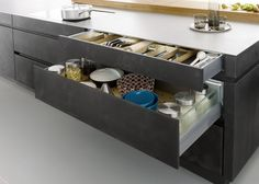 Outstanding Black Kitchen Decor Kitchen Modern with Modern Ideas Gray Open Shelves Stainless Steel Hardware Flat Panel Cabinets Designs Concrete Kitchen, Kitchen Flooring, Concrete Floor, Kitchen Styling, Kitchen Storage, Dyi Kitchen Ideas, Black Kitchen Decor, Built In Pantry, German Kitchen