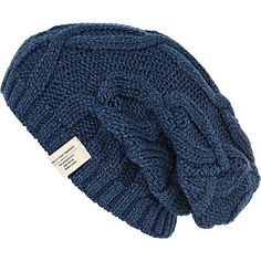 424ef741e44 Blue cable knit beanie hat - hats - accessories - men Knit Beanie Hat