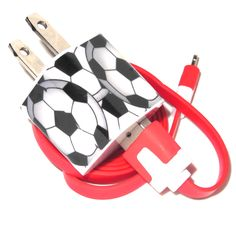Soccer Ball Cell Phone Charger compatible with iPhone, Samsung and other Android devices.