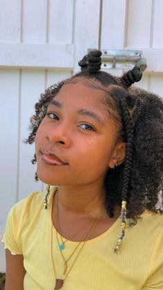 Natural Hair Puff, Natural Hair Twists, Natural Curls, Single Braids, Two Braids, Twist Braid Hairstyles, Cute Hairstyles, Heart Braid, Curly Hair Styles