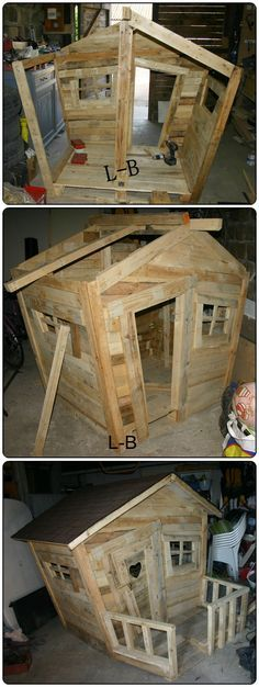 ANDREA SHOW THIS TO KAYTRINA THIS IS CUTE FOR STEVIE Love this children's #upcycled pallet playhouse! #ecofamilies #sustainable