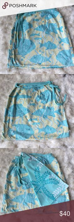 Lilly Pulitzer fish print wrap skirt.Size 8. AdorAble Lilly Pulitzer yellow Aline fish print wrap skirt! Size 8. Lilly Pulitzer Skirts A-Line or Full
