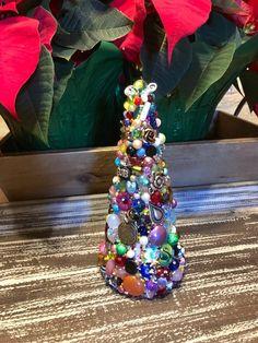 Tabletop Christmas Tree Christmas TablescapeBeaded Christmas | Etsy Tabletop Christmas Tree, Xmas Trees, Christmas Bulbs, Bead Crafts, Diy Crafts, Cross Art, Beads, Vintage, Holiday Decor