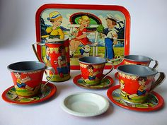 Vintage tin litho tea set, Germany.