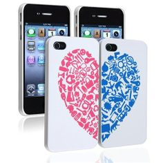 eForCity Valentine's Day Gifts - Snap-on Case Compatible with Apple iPhone 4 / White with Red / Blue Heart Rear x