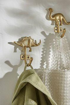 Shop Stegosaurus Dinosaur Brass Hook at Urban Outfitters today. Toddler Boy Room Decor, Teen Room Decor, Kids Room, Dinosaur Room Decor, Dinosaur Bedroom, Little Mermaid Bathroom, J Birds, Urban Outfitters, Bathroom Kids