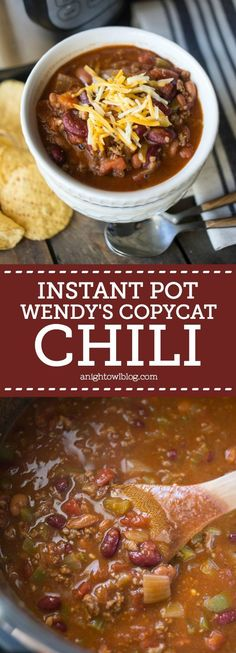 This Instant Pot Wendy's Copycat Chili is delicious and so easy to make! Dinner is ready in less than 30 minutes! Best Shrimp Recipes, Pasta Recipes, Food Porn, Chili, Chile, Chilis