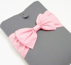 13 inch MacBook Pro/ Air/ Retina Sleeve Case, Custom Padded Laptop Cover,SUPERIOR Shock Absorbent Foam Padding- Grey Cotton, Pink Double Bow on Etsy, $44.99