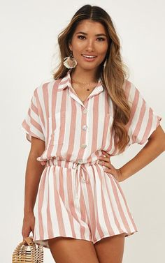 Island Vibe Playsuit In Red Stripe Classy Outfits, Casual Outfits, Cute Outfits, Fashion Outfits, Jumpsuits Uk, Jumpsuits For Women, Playsuits, Lace Jumpsuit, Summer Dress Outfits