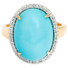 Beautiful Cabochon Turquoise Diamond Gold Ring | From a unique collection of vintage cocktail rings at https://www.1stdibs.com/jewelry/rings/cocktail-rings/