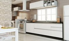 Cozinha Modulada Completa Branco/Lari - Caaza                                                                                                                                                                                 Mais