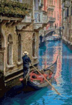 Venice Gondola Cross Stitch pa