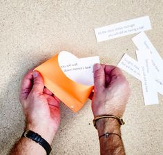 Fill the folder paper cookie with a written fortune of your choice.