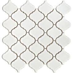Lantern 12-1/2 in. x 12-1/2 in. White Porcelain Mesh-Mounted Mosaic Tile