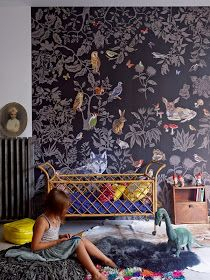 Love the dark grey wallpaper in this girls bedroom | Annabel Gueret via Le Petit Florilège