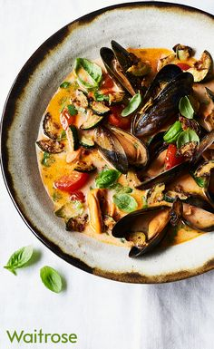 Puglian-style mussels with creamy tomatoes, chilli and fried courgettes. Top tip: mussels are best cooked quickly – steaming in a broth keeps them juicy. Cook until the shells open: any longer and they can become chewy. Be sure to discard any shells that don't open. Get the recipe on the Waitrose website.