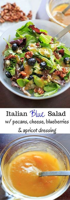 Italian Blue Salad - mixed greens served with blue cheese, honey roasted pecans, fresh blueberries and an apricot vinaigrette dressing.