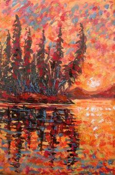 Impressionistic Sunrise, Original 5x7 Acrylic, painting by artist Jackie Irvine