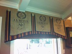 Linen box pleated valance with reproduction burlap french grain sacks...too fun!