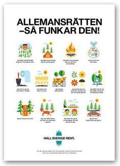 Affisch om allemansrätten - också på olika språk.