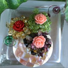"""Shell Citrine Prehnite Tourmaline Flower Brooch NWOT Shell, Citrine, Prehnite, Tourmaline & Resin in Flower Brooch. Coin shell, fancy citrine & prehnite & tourmaline, pink & red resin flowers. Good quality & high luster. 40mm (shell), 10mm resin flower. Approx 2.1"""" brooch No Trades & No PayPal Jewelry Brooches"""