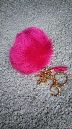 Check out this item in my Etsy shop https://www.etsy.com/listing/574500155/pink-cannabis-pom-pom-keychain