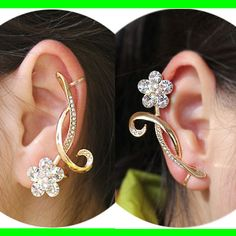 Glittering Flower on Vine Rhinestone Ear Cuff (Single, No Piercing)